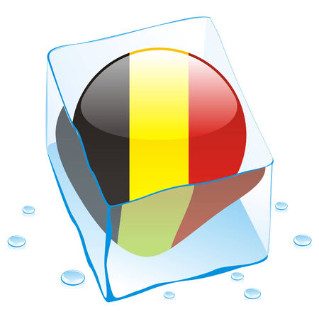 button flag of belgium frozen in  ice cube Stock Vector - 6579621