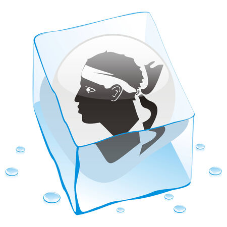 button flag of corsica frozen in  ice cube Stock Vector - 6579629