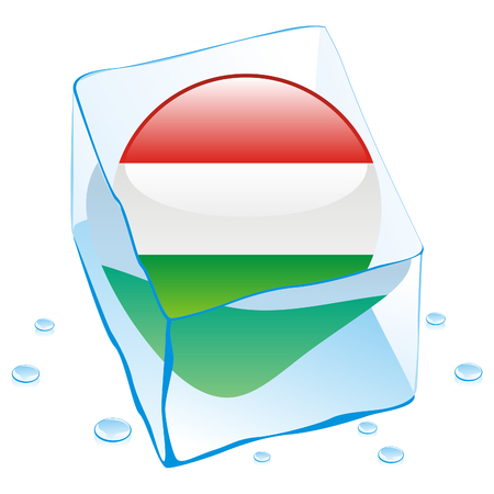 button flag of hungary frozen in  ice cube Vector