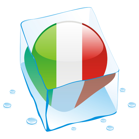 button flag of italy frozen in  ice cube Vector