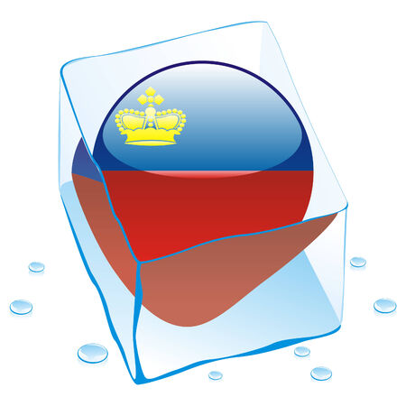 liechtenstein: button flag of liechtenstein frozen in  ice cube
