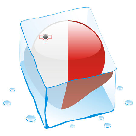 button flag of malta frozen in  ice cube Vector
