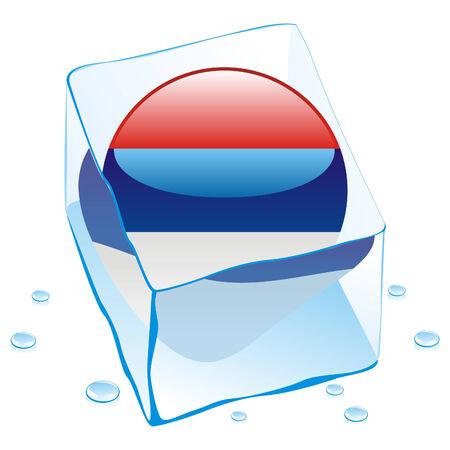 serbien: Schaltfl�che Flagge Serbien in Eisw�rfel eingefroren Illustration