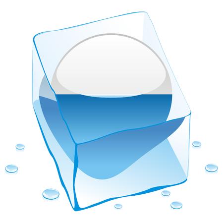 marino: button flag of san marino frozen in  ice cube