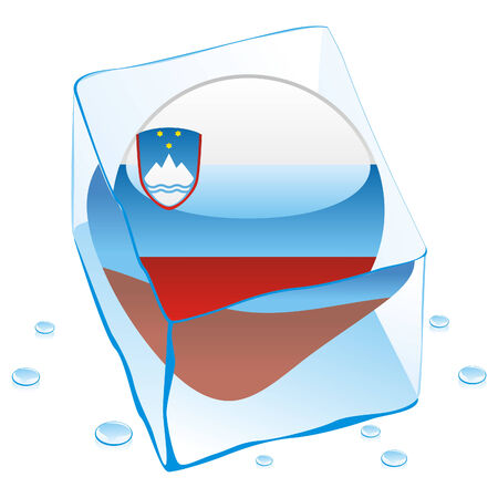 button flag of slovenia frozen in  ice cube Stock Vector - 6579628