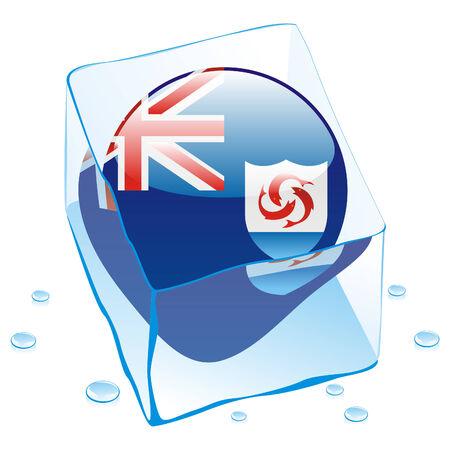 anguilla: fully editable illustration of anguilla button flag frozen in ice cube  Illustration