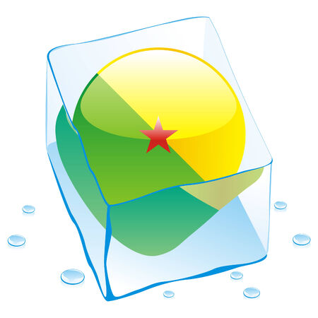 fully editable illustration of french guiana button flag frozen in ice cube  Vector
