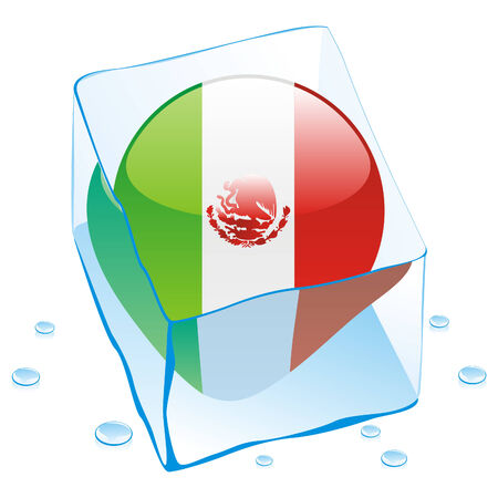 fully editable illustration of mexico button flag frozen in ice cube  Vector