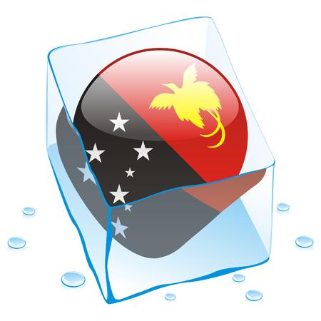 papouasie: illustration enti�rement modifiable de Papouasie-Nouvelle-Guin�e bouton pavillon congel� dans les cube de glace  Illustration