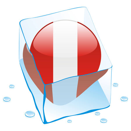 fully editable illustration of peru button flag frozen in ice cube  Vector