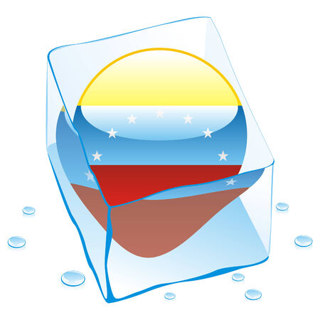 fully editable illustration of venezuela button flag frozen in ice cube  Vector