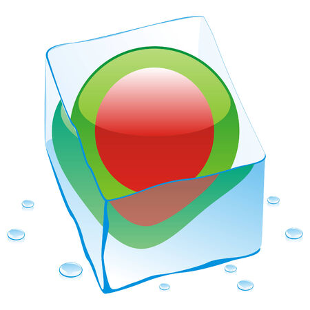 fully editable illustration of bangladesh button flag frozen in ice cube  Stock Vector - 6606170