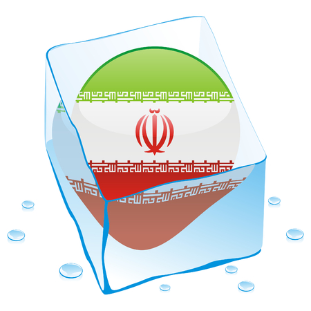 fully editable illustration of iran button flag frozen in ice cube  Vector