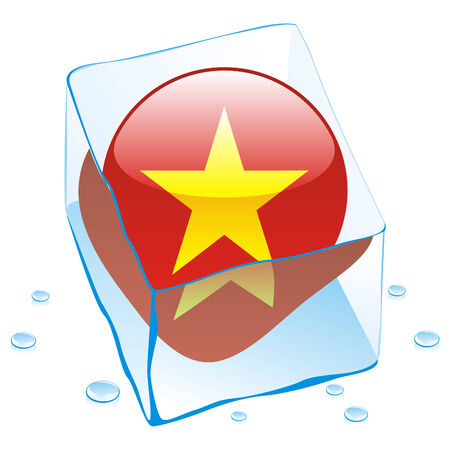 fully editable illustration of vietnam button flag frozen in ice cube  Vector