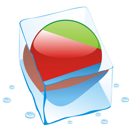 chad: fully editable illustration of eritrea button flag frozen in ice cube