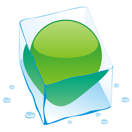 lybia: fully editable illustration of lybia button flag frozen in ice cube