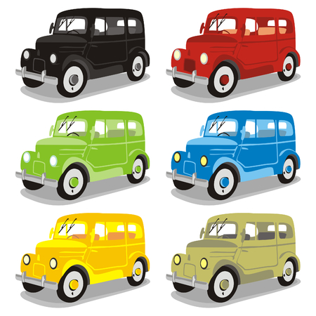 lifelike: fully editable isolated funny colored cars with details
