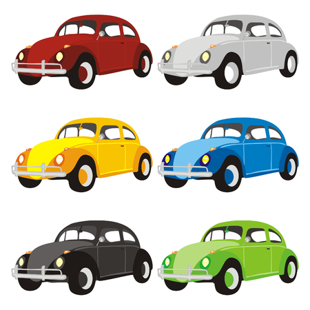 car showroom: fully editable isolated funny colored cars with details
