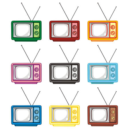 classic living room: fully editable illustration old tv sets