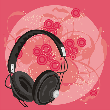 fully editable vector illustration of earphone with grunge background Stock Vector - 6795788