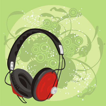 fully editable vector illustration of earphone with grunge background Stock Vector - 6795796