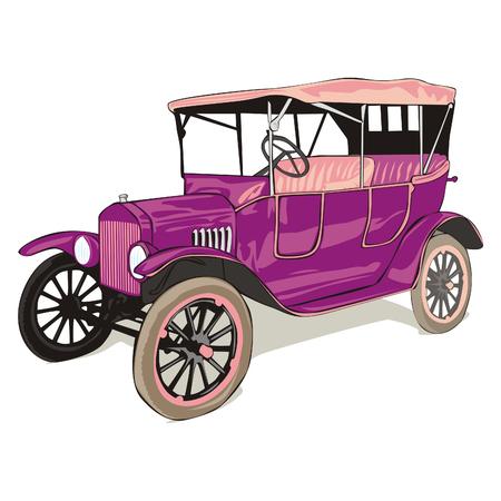 car showroom: vector totalmente editables aislado viejo divertidos colores coche con detalles