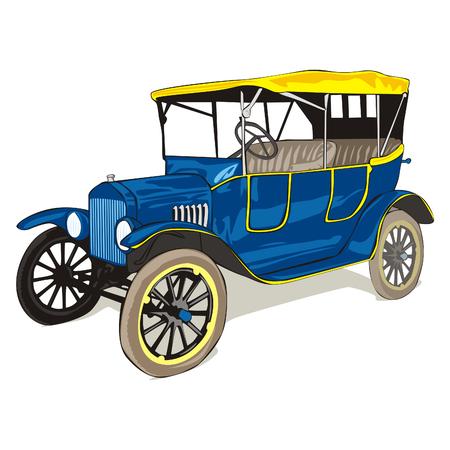 car showroom: vector totalmente editables aislados viejo divertidos colores coche con detalles Vectores