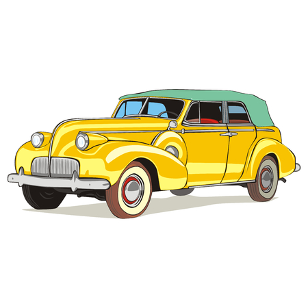 fully editable vector isolated old colored car with details  Vector