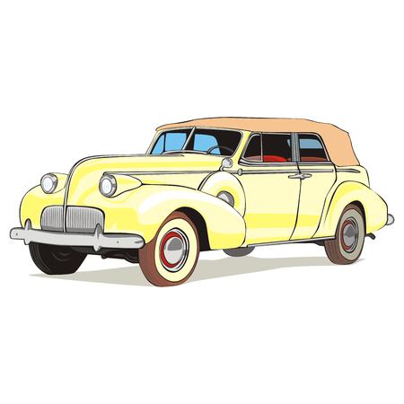 car showroom: vector totalmente editables aislados viejo color coche con detalles