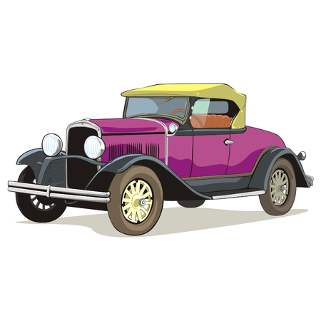old colored car with details  Vector