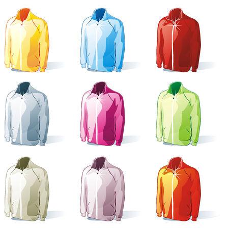fully editable: fully editable illustration of isolated jacket set