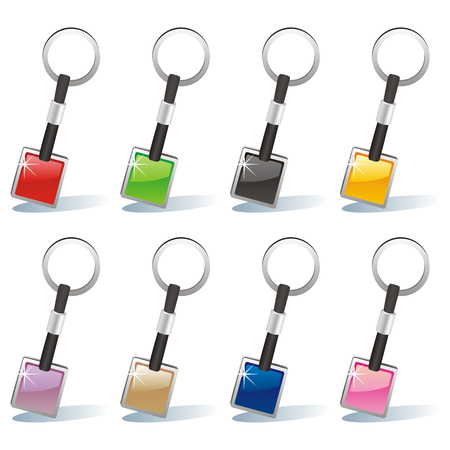 fully editable illustration of isolated colored key chain set