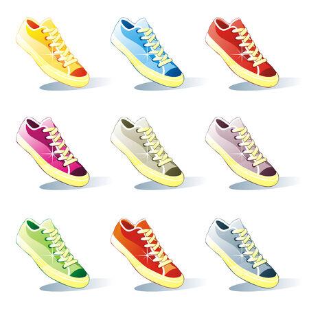 fully editable: fully editable illustration of isolated shoes set