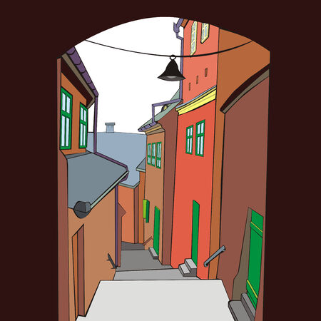 fully editable illustration of an old town by day Stock Vector - 7005671