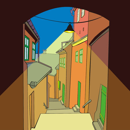 fully: fully editable illustration of an old town by night