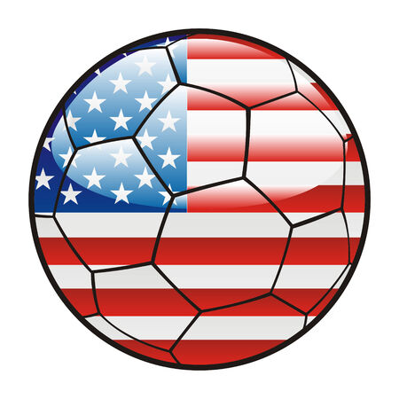 footie: fully editable illustration flag of America on soccer ball