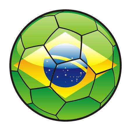 fully editable illustration flag of Brazil on soccer ball Vector