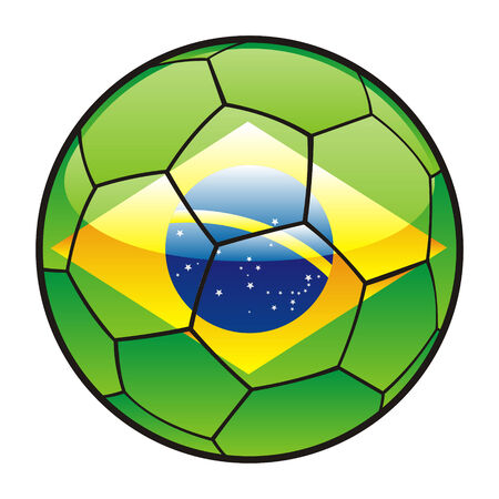 brazil country: fully editable illustration flag of Brazil on soccer ball Illustration