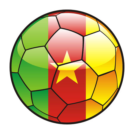 footie: fully editable illustration flag of Cameroon  on soccer ball