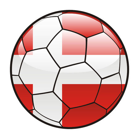 footie: fully editable illustration flag of Denmark on soccer ball
