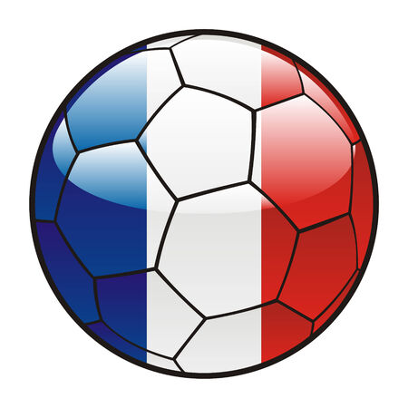 france painted: fully editable illustration flag of France on soccer ball