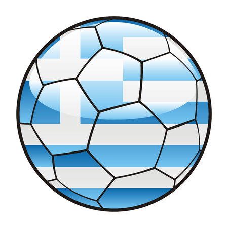 footie: fully editable illustration flag of Greece on soccer ball
