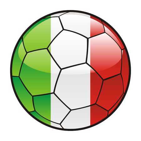 fully editable illustration flag of Italy  on soccer ball Vector