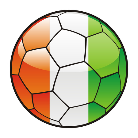 footie: fully editable illustration flag of Ivory Coast on soccer ball