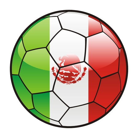 fully editable illustration flag of Mexico on soccer ball Vector