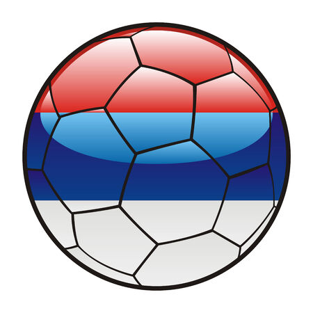 footie: fully editable illustration flag of Serbia on soccer ball