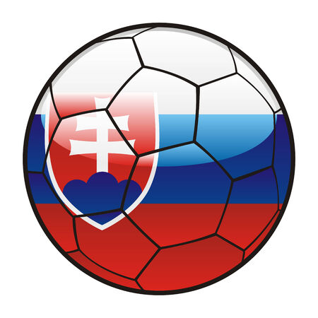 slovakian: fully editable illustration flag of Slovakia on soccer ball