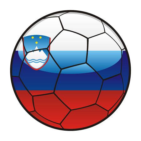 fully editable illustration flag of Slovenia on soccer ball Stock Vector - 7140626