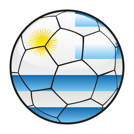 fully editable illustration flag of Uruguay on soccer ball Vector