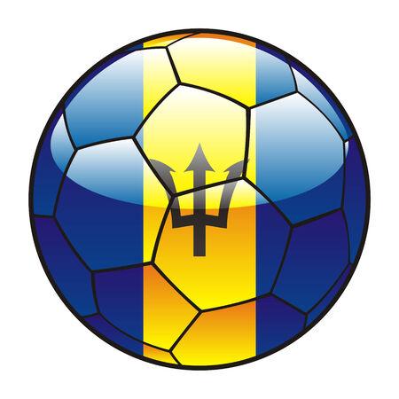 vector illustration of Barbados flag on soccer ball